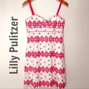 Lilly Pulitzer White & Pink Spaghetti Straps Dress
